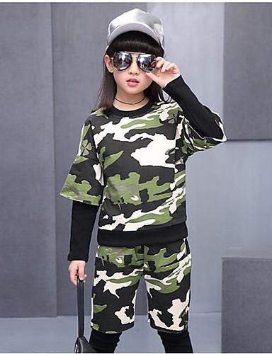 Mädchen Sets camuflaje Baumwolle Frühling Lange Ärmel Kleidungs Set