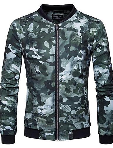 Herren Druck camuflaje Einfach Lässig/Alltäglich Jacke,Ständer Herbst Langärmelige Standard Baumwolle Polyester