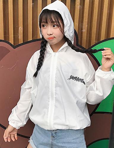 Damen Buchstabe Einfach Freizeit Alltag Standard Jacke, Mit Kapuze Sommer Baumwolle