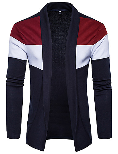 Men's Daily / Going out / Weekend Color Block Long Sleeve Slim Regular Cardigan, Shirt Collar Spring / Fall Black / Navy Blue L / XL / XXL