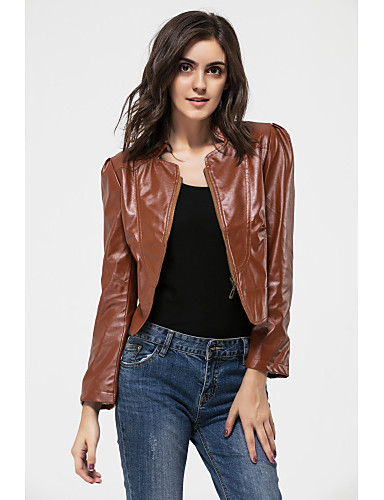 yuntuo® női divatos bőrbőr zakó kemény barna