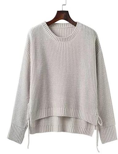 Damen Kurz Pullover-Ausgehen Lässig/Alltäglich Street Schick Solide Rundhalsausschnitt Langarm Baumwolle Acryl Herbst Dick Mikro-elastisch
