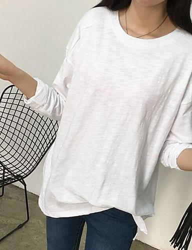 Damen Pullover Lässig/Alltäglich Einfach Solide Rundhalsausschnitt Mikro-elastisch Baumwolle Polyester Lange Ärmel Frühling Herbst