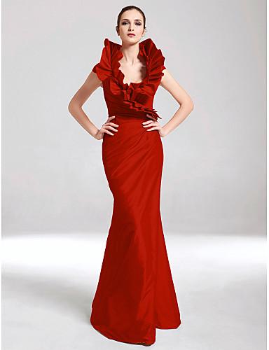 billige Formelle dresser-Havfrue V-hals Gulvlang Taft Formell kveld Kjole med Sidedrapering / Drapert av TS Couture®