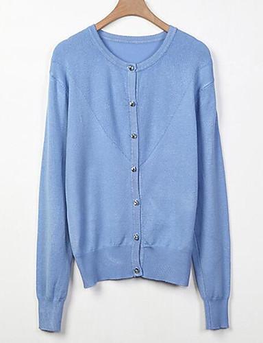 Damen Standard Strickjacke-Lässig/Alltäglich Einfach Solide V-Ausschnitt Langarm Baumwolle Frühling Herbst Mittel Mikro-elastisch