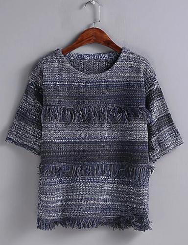 Damen Standard Pullover-Ausgehen Lässig/Alltäglich Einfach Einfarbig Rundhalsausschnitt Halbe Ärmel Andere Frühling Herbst Dünn Mittel