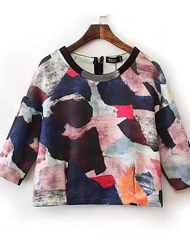 Damen Pullover Ausgehen Einfarbig Rundhalsausschnitt Mikro-elastisch Andere Lange Ärmel Frühling Herbst