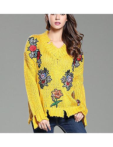 Damen Standard Pullover-Lässig/Alltäglich Niedlich Druck V-Ausschnitt Langarm Baumwolle Polyester Herbst Winter Mittel Dehnbar