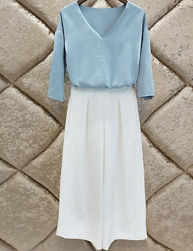 Damen Solide Einfach Lässig/Alltäglich T-shirt Hose Anzüge,V-Ausschnitt Sommer Baumwolle