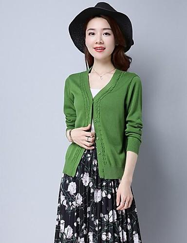 Damen Standard Strickjacke-Lässig/Alltäglich Solide V-Ausschnitt Langarm Baumwolle Andere Frühling Dünn Mikro-elastisch