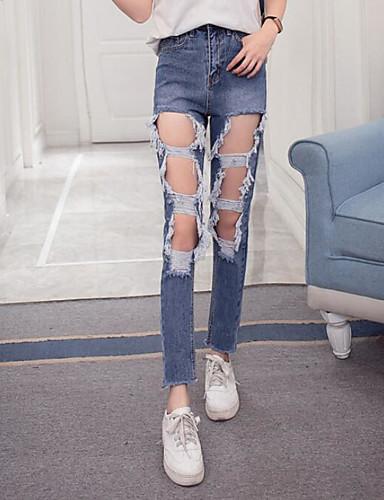 بنطلون جينزات تشينوز مطاط صغير ضعيف مرتفع مثير جداً سادة نساء
