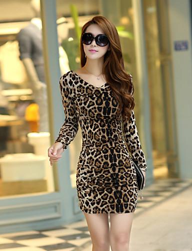 Damen Bodycon Kleid-Alltag Ausgehen Arbeit Niedlich Sexy Leopard V-Ausschnitt Mini Langarm Polyester Sommer Herbst Mittlere Hüfthöhe