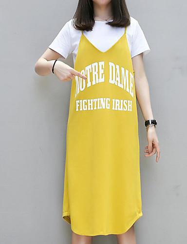 Damen Etuikleid Kleid-Lässig/Alltäglich Buchstabe V-Ausschnitt Midi Kurzarm Baumwolle Sommer Mittlere Hüfthöhe Mikro-elastisch Mittel