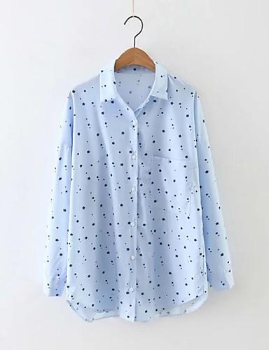 Damen Solide Punkt Einfach Street Schick Ausgehen Lässig/Alltäglich Arbeit Hemd,Hemdkragen Sommer Langarm Leinen Polyester Andere Dünn