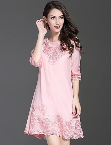 Damen A-Linie Kleid-Ausgehen Niedlich Stickerei Rundhalsausschnitt Übers Knie Halbe Ärmel Polyester Herbst Mittlere Hüfthöhe