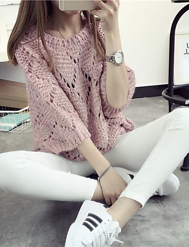 Damen Kurz Pullover-Ausgehen Lässig/Alltäglich Einfach Solide Rundhalsausschnitt Langarm Mohair Frühling Mittel Mikro-elastisch