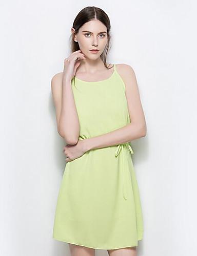 Damen Hülle Kleid-Lässig/Alltäglich Solide Gurt Übers Knie Ärmellos Nylon Sommer Hohe Hüfthöhe Unelastisch Dünn