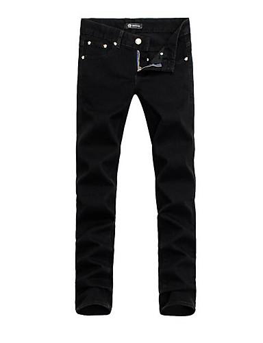 Herren Einfach Tiefe Hüfthöhe Mikro-elastisch Jeans Schlank Hose Solide