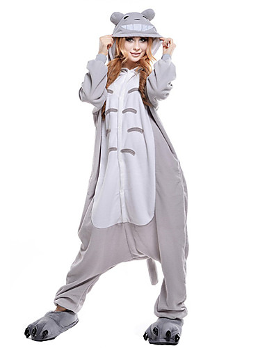 Adults  Kigurumi Pajamas Cat Totoro Onesie Pajamas Coral fleece Gray  Cosplay For Men and Women Animal Sleepwear Cartoon Festival   Holiday  Costumes c2eb02a5838d2