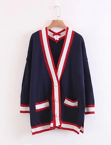 Damen Standard Strickjacke-Ausgehen Lässig/Alltäglich Einfach Einfarbig V-Ausschnitt Langarm Baumwolle Frühling Herbst Dünn Mittel