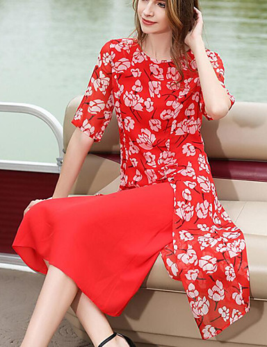 Damen Hülle Kleid-Ausgehen Blumen Rundhalsausschnitt Midi Halbe Ärmel Polyester Sommer Mittlere Hüfthöhe Mikro-elastisch Mittel