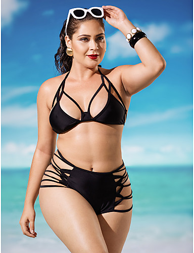 Women's Lace up Solid Hollow Out Sexy Push-up Bandage Halter Bikinis