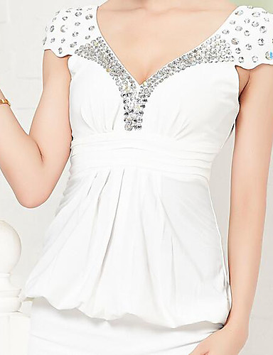 Damen Bodycon Hülle Kleid-Party Klub Sexy Solide V-Ausschnitt Mini Kurzarm Wolle Baumwolle Sommer Hohe Hüfthöhe Mikro-elastisch