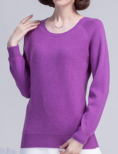 Damen Standard Pullover-Lässig/Alltäglich Einfach Solide Rundhalsausschnitt Langarm Andere Herbst Winter Mittel Dehnbar