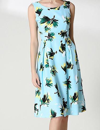 Damen Hülle Kleid-Ausgehen Blumen Rundhalsausschnitt Knielang Ärmellos Polyester Sommer Mittlere Hüfthöhe Mikro-elastisch Mittel