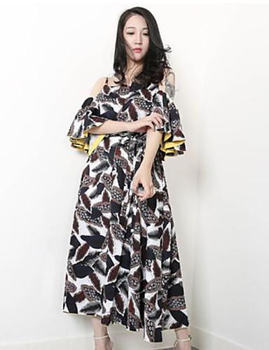 Damen Das kleine Schwarze Chiffon Kleid-Ausgehen Lässig/Alltäglich Niedlich Blumen Bateau Midi Kurzarm Baumwolle Sommer Mittlere Hüfthöhe