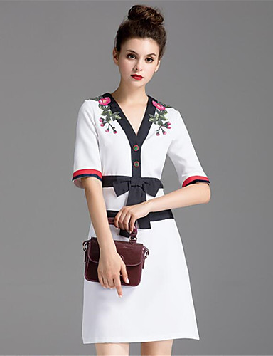 ZIYI Women's Loose Dress - Embroidered V Neck