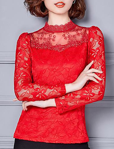 abordables Hauts pour Femmes-Tee-shirt Femme, Couleur Pleine Dentelle Sortie Mao Rouge / Automne / Hiver