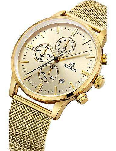 MEGIR Herrn Sportuhr Modeuhr Armbanduhr Einzigartige kreative Uhr Armbanduhren für den Alltag Uhr Holz Quartz Kalender Edelstahl Band