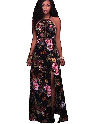 Women's Floral Club Maxi Sheath Dress - Floral Black, Cut Out / Split Halter Neck Summer White Black M L XL