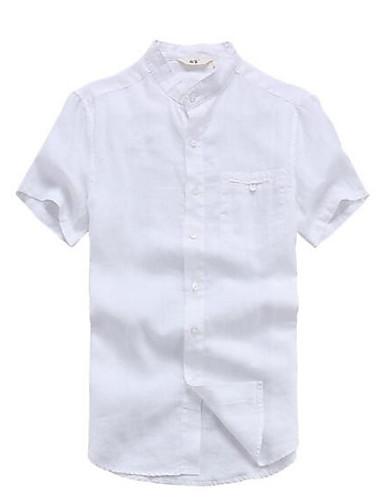 Herren Solide Einfach Lässig/Alltäglich Hemd,Ständer Kurzarm Baumwolle Leinen