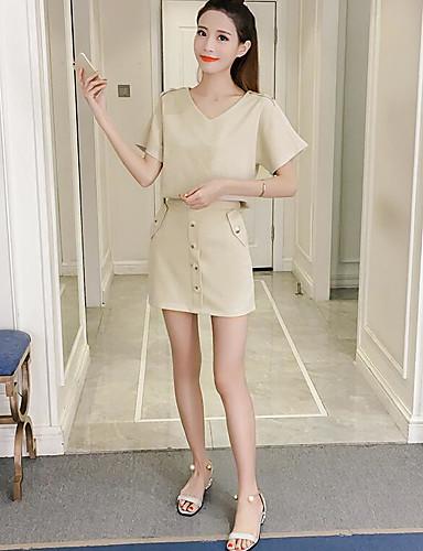 Damen Solide Einfach Ausgehen Lässig/Alltäglich Shirt Rock Anzüge,V-Ausschnitt Sommer Kurzarm Mikro-elastisch