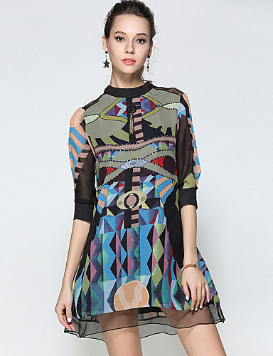 YHSP Women's Street chic / Sophisticated A Line / Loose Dress - Geometric Print Stand