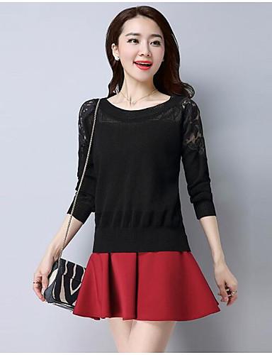 Damen Standard Pullover-Lässig/Alltäglich Solide Druck Rundhalsausschnitt 3/4 Ärmel Leinen Andere Frühling Dünn Mikro-elastisch