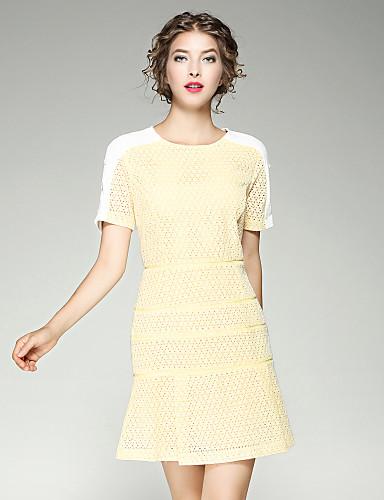 Damen Etuikleid Kleid-Alltag Ausgehen Street Schick Solide Stickerei Rundhalsausschnitt Übers Knie Kurzarm Baumwolle Sommer Herbst