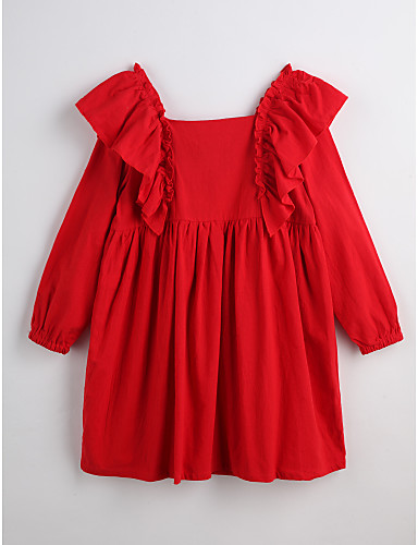 Mädchen Kleid Solide Baumwolle Frühling Herbst Langarm Gerüscht Rote