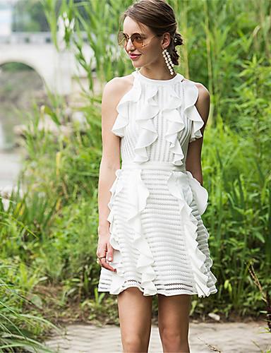 Damen A-Linie Hülle Kleid-Lässig/Alltäglich Solide Gestreift Halter Übers Knie Ärmellos Polyester Frühling Hohe Hüfthöhe Mikro-elastisch