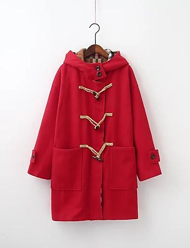 Damen Solide Einfarbig Einfach Niedlich Ausgehen Lässig/Alltäglich Mantel,Mit Kapuze Winter Herbst Langärmelige Standard Baumwolle