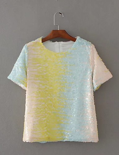 Damen Regenbogen Niedlich Street Schick Sport Lässig/Alltäglich Strand T-shirt,Rundhalsausschnitt Sommer Herbst Kurzarm Baumwolle Dünn