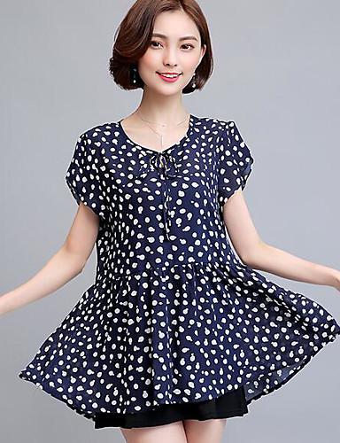 Damen Punkt Einfach Lässig/Alltäglich Bluse,V-Ausschnitt Kurzarm Polyester