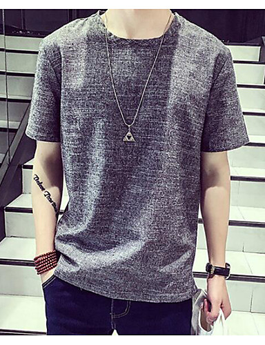 Herren Solide Einfach Ausgehen Lässig/Alltäglich T-shirt,Rundhalsausschnitt Kurzarm Baumwolle