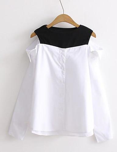 Damen Solide Gestreift Einfach Ausgehen Hemd,Schulterfrei Langarm Baumwolle
