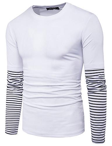 Herren Gestreift Einfach Ausgehen Lässig/Alltäglich T-shirt,Rundhalsausschnitt Herbst Winter Langarm Baumwolle Polyester