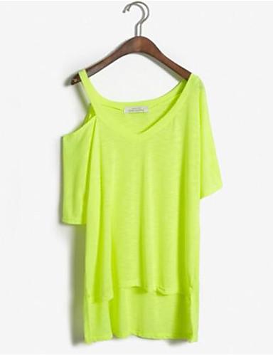 Damen Solide Street Schick Ausgehen Lässig/Alltäglich T-shirt,V-Ausschnitt Sommer Kurzarm Baumwolle Mittel