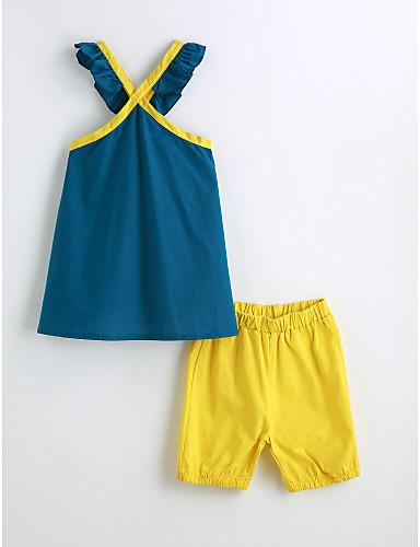 Mädchen Kleidungs Set Solide Baumwolle Sommer Ärmellos Blau Leicht Blau