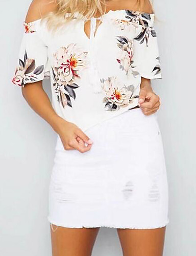 Damen Solide Druck Einfach Lässig/Alltäglich T-shirt,Schulterfrei Sommer Kurzarm Baumwolle